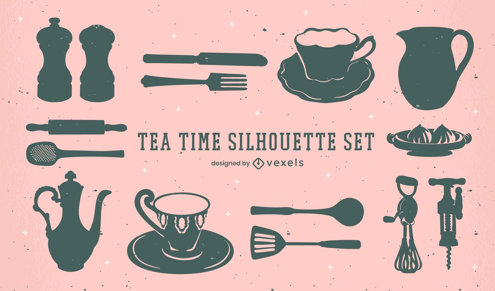 Conjunto de siluetas de elementos de la hora del té
