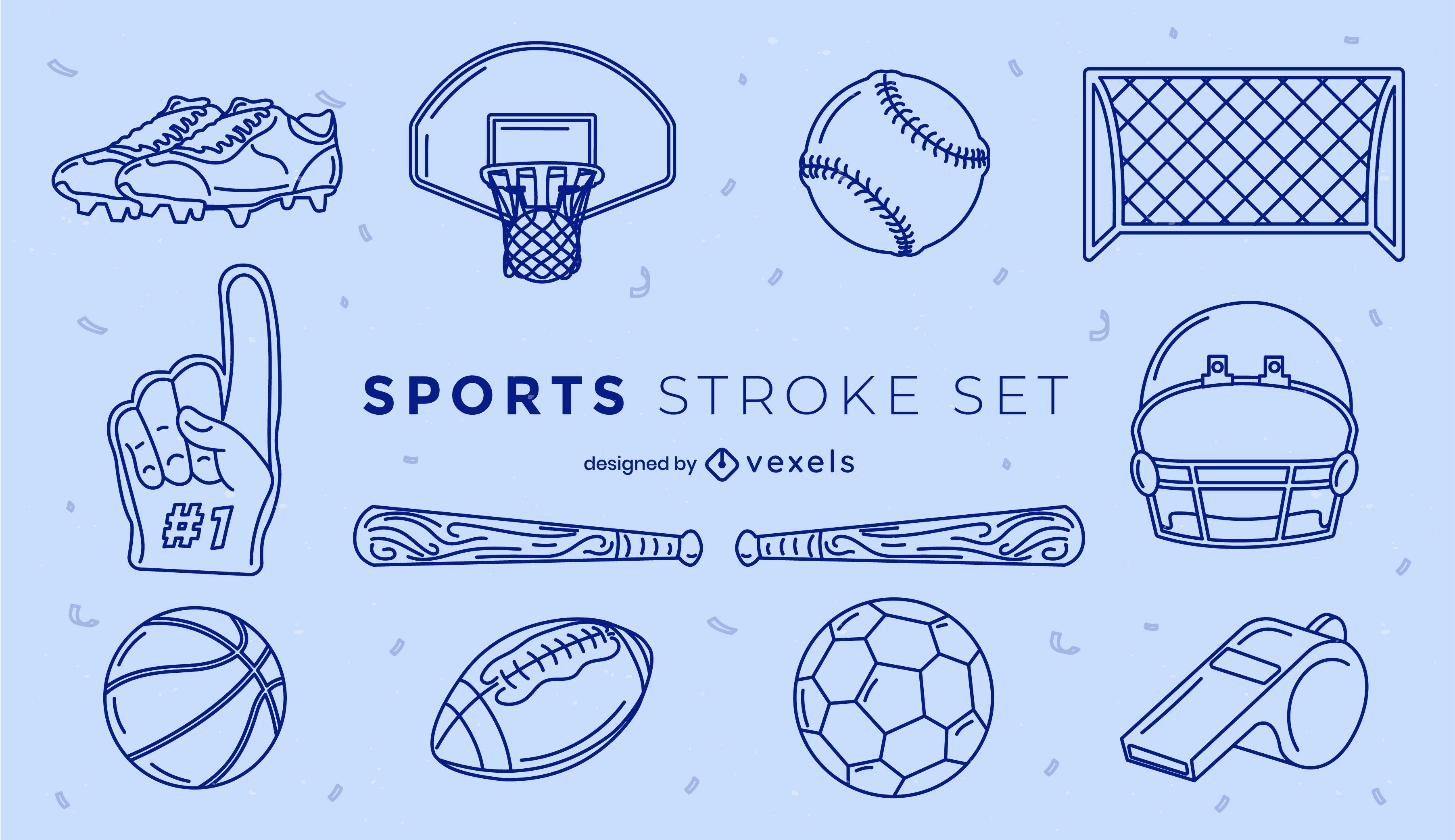 Set of stroke sport elements
