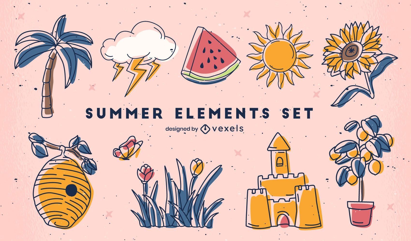 Conjunto de elementos de trazo de color de verano