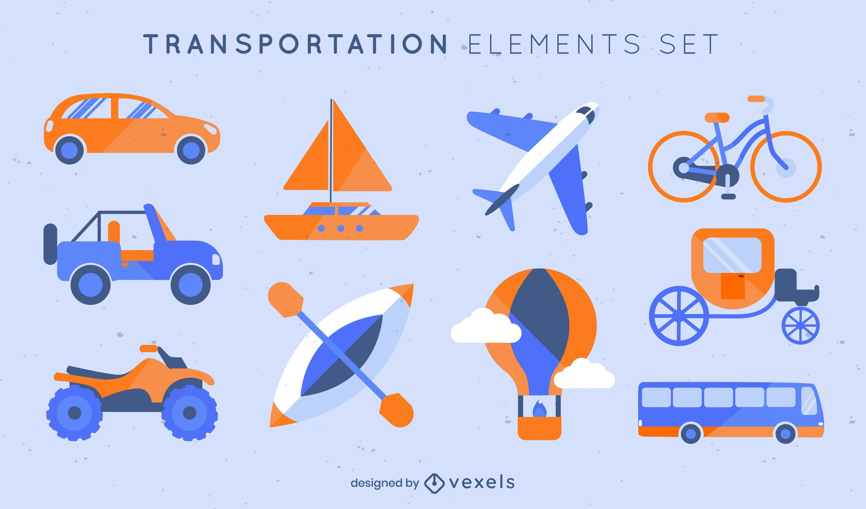 Semi flat set of transportation elements