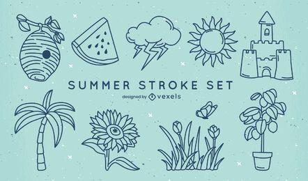 Set of summer stroke elements
