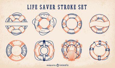 Nautical life savers stroke set