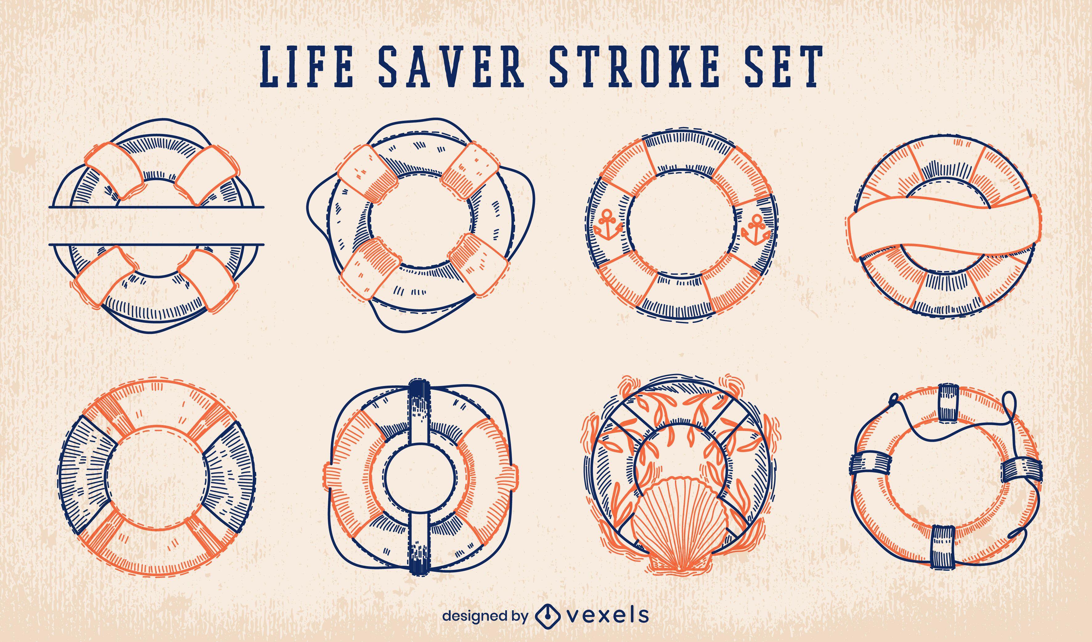 Conjunto de golpes de salva-vidas náuticos