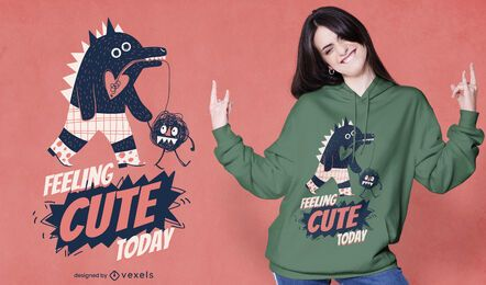Diseño de camiseta linda mascota Monster Walking
