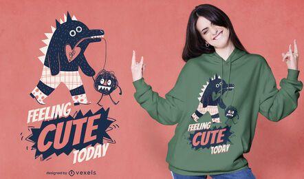 Monstro ambulante com design de camiseta fofa