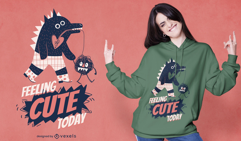 Monster walking pet cute t-shirt design