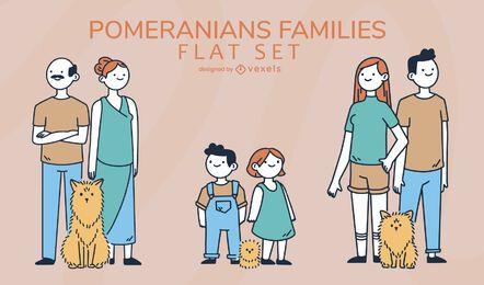 Conjunto de familias de pomerania de dibujos animados