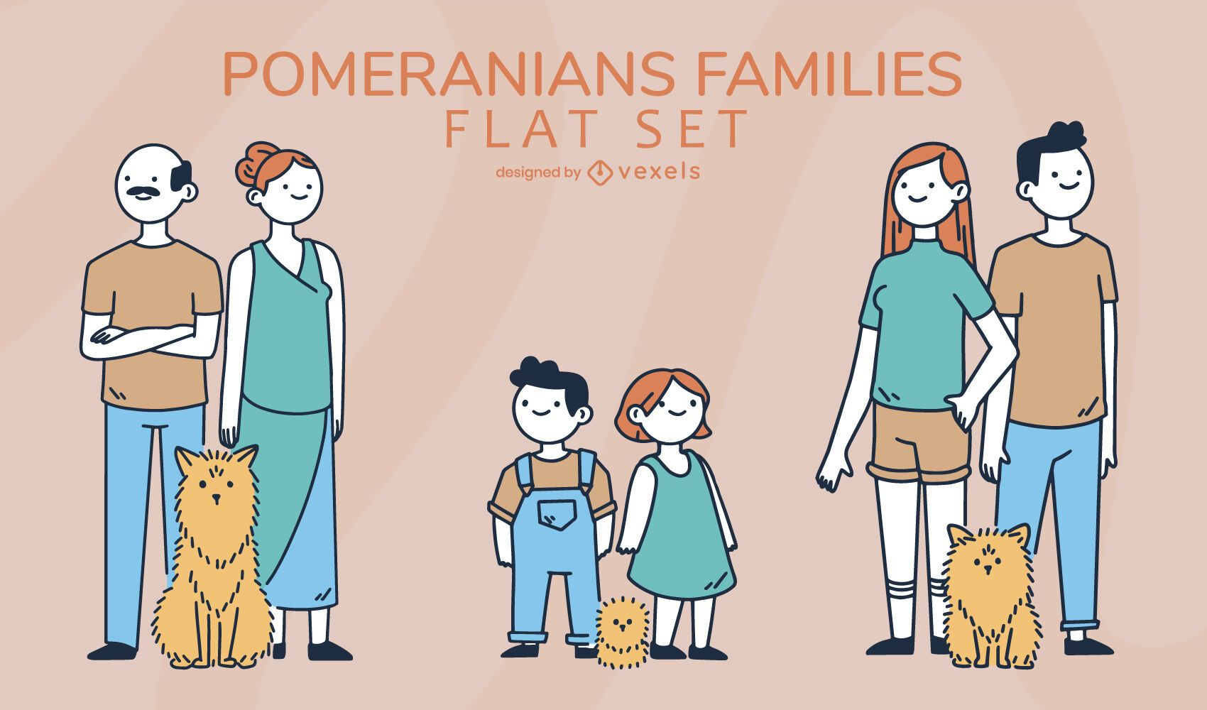 Conjunto de famílias de pomeranos de desenhos animados