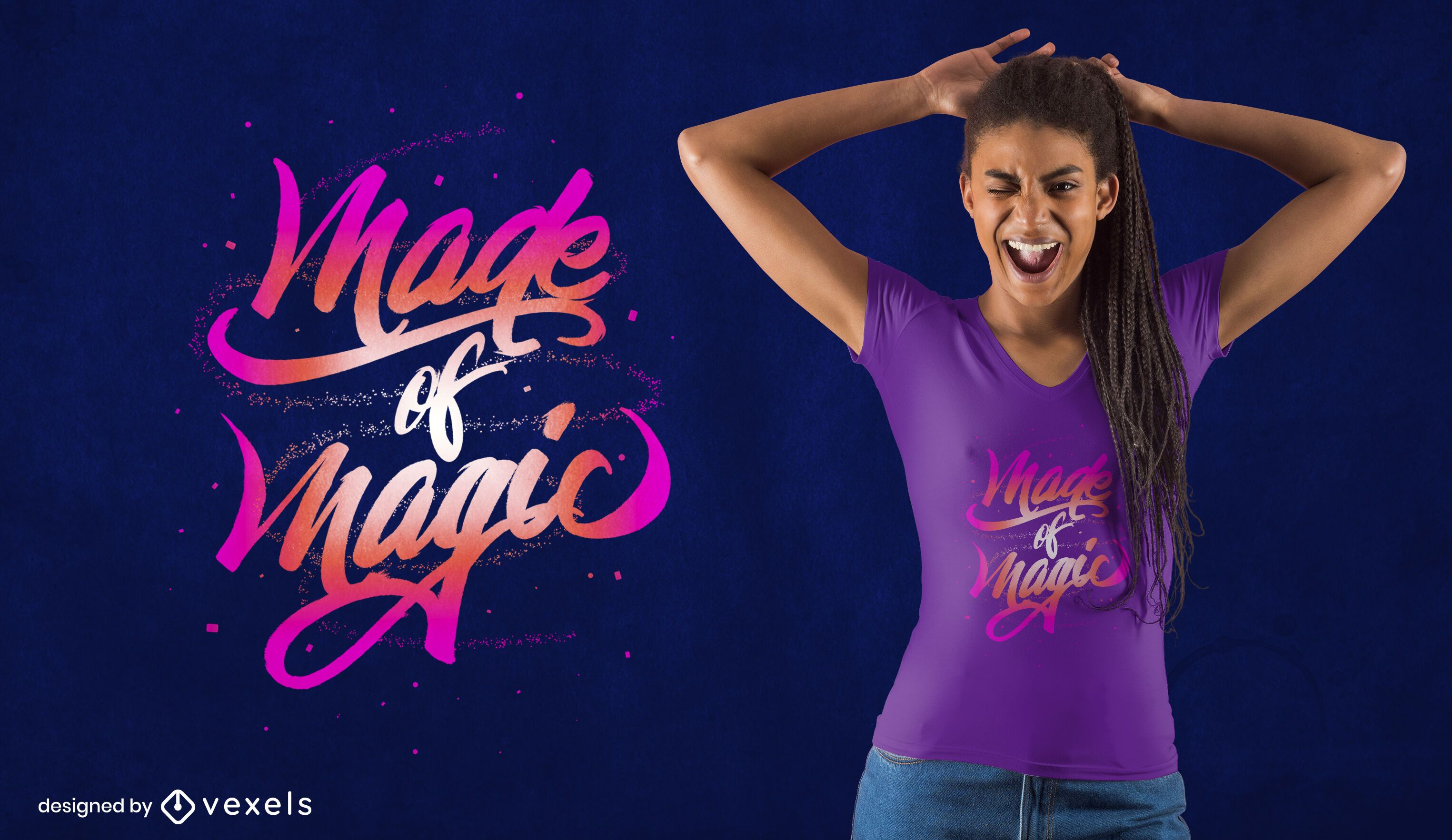 Made of magic lettering psd t-shirt design