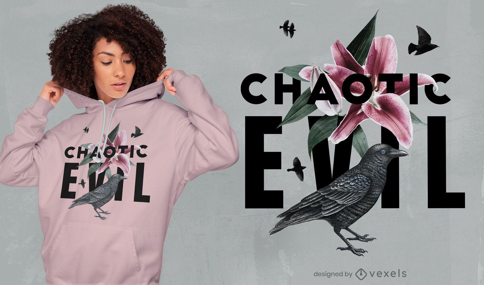 Diseño de camiseta psd malvado caótico floral