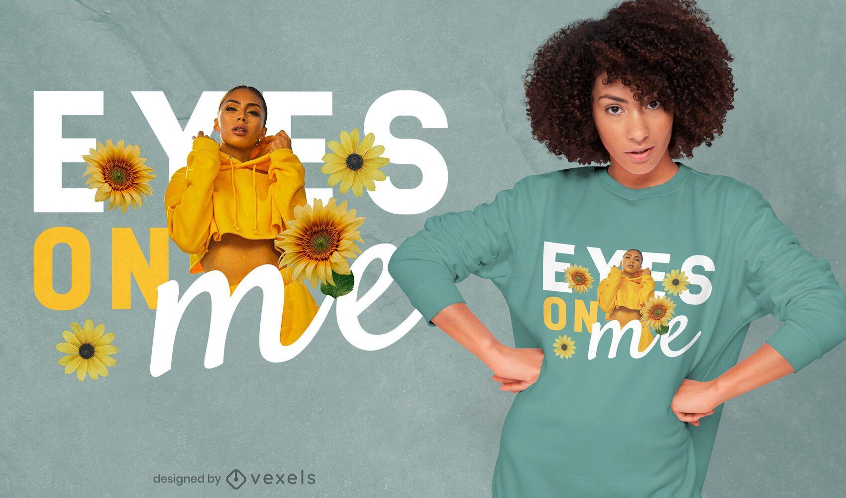 Ojos en mí diseño de camiseta psd de niña floral