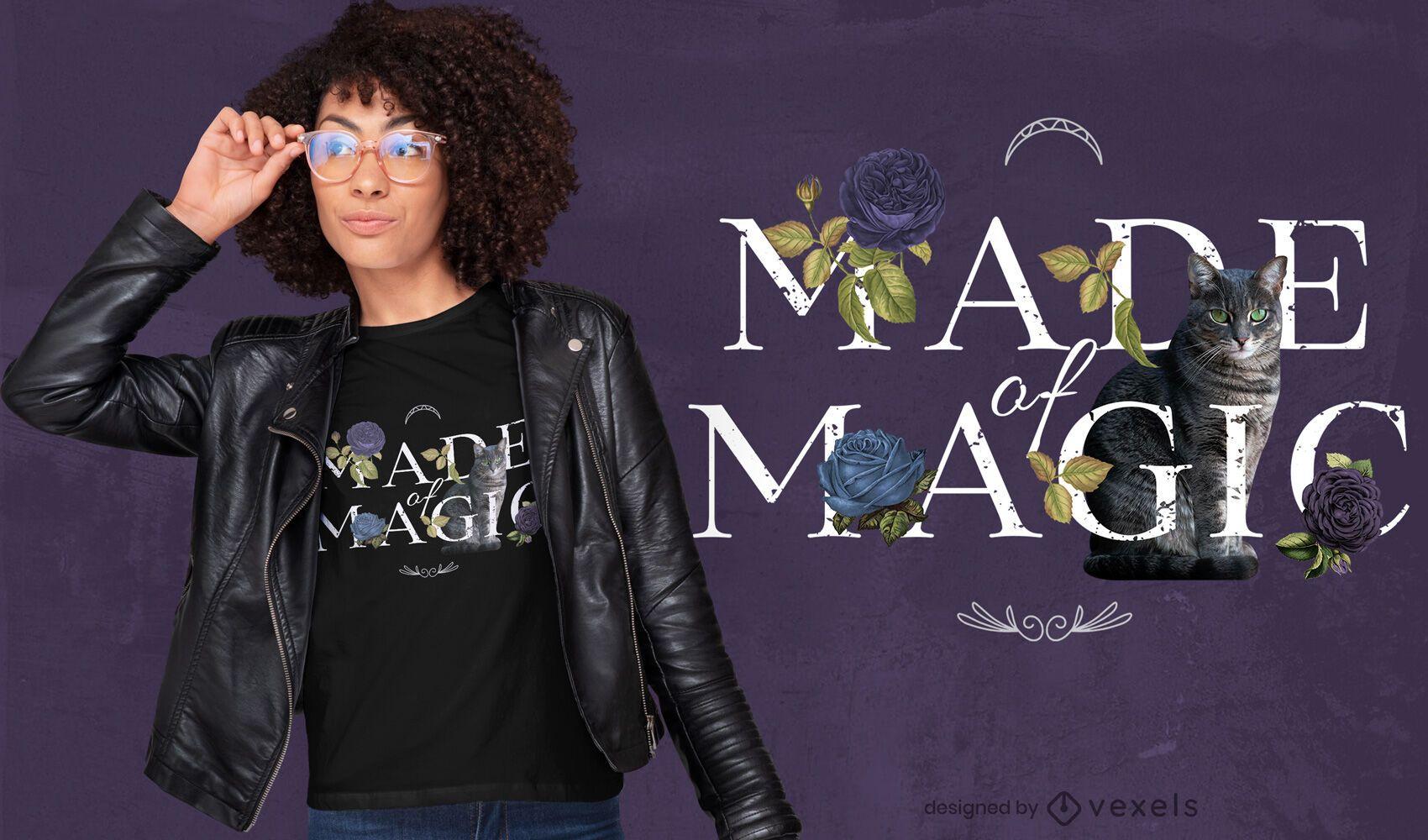 Diseño de camiseta psd floral hecho de cita mágica