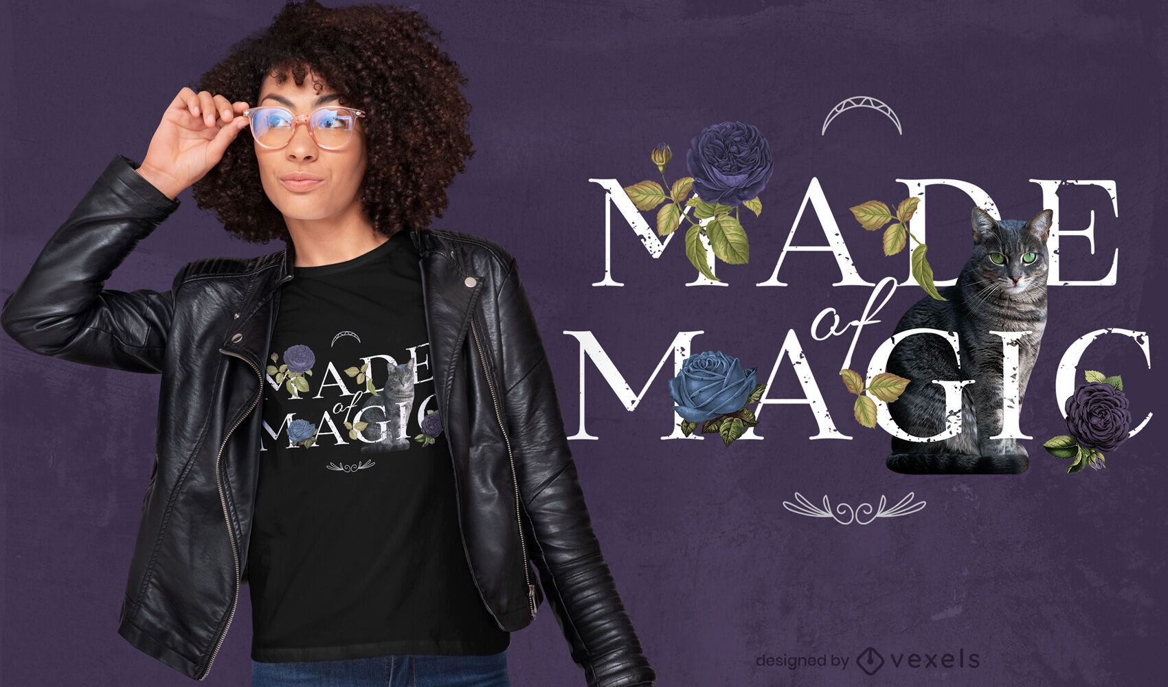 Floral made of magic quote psd t-shirt design