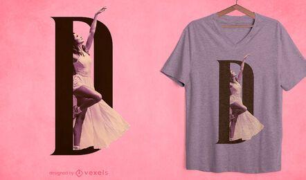 Girl letter D psd t-shirt design