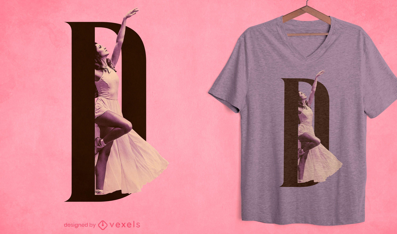 Design de camiseta com letra feminina D psd