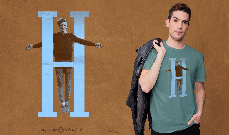 Diseño de camiseta de niño letra H psd