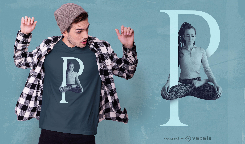 Mädchen Buchstabe P psd T-Shirt Design