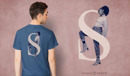 Girl letter S psd t-shirt design