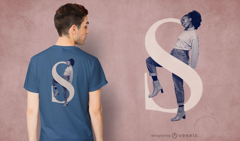 Design de camiseta com letra feminina S psd