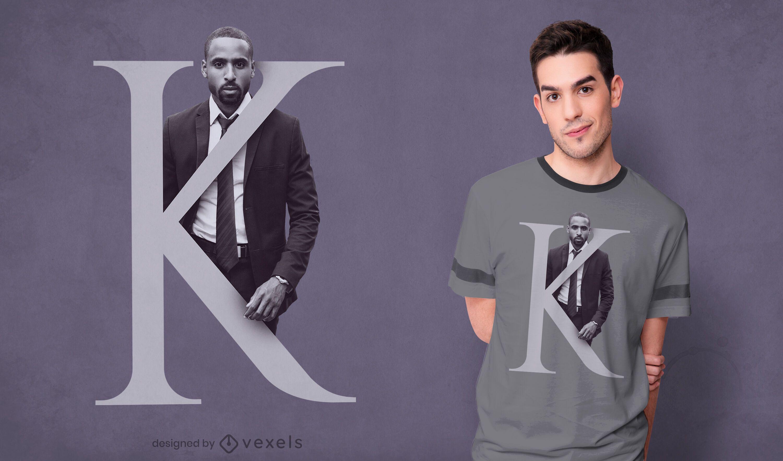 Diseño de camiseta de niño letra K psd