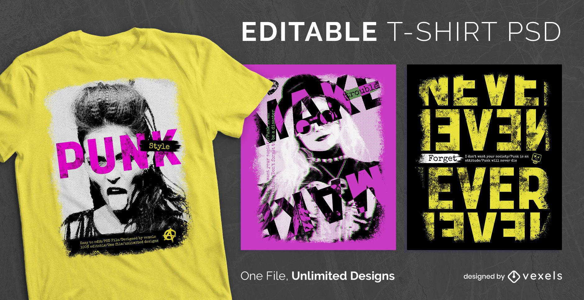 Camiseta escalable de collages estilo punk psd