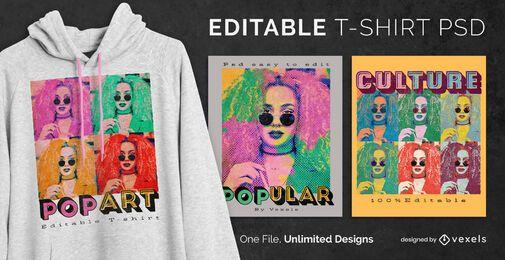 T-shirt escalável de fotografias de pop art psd