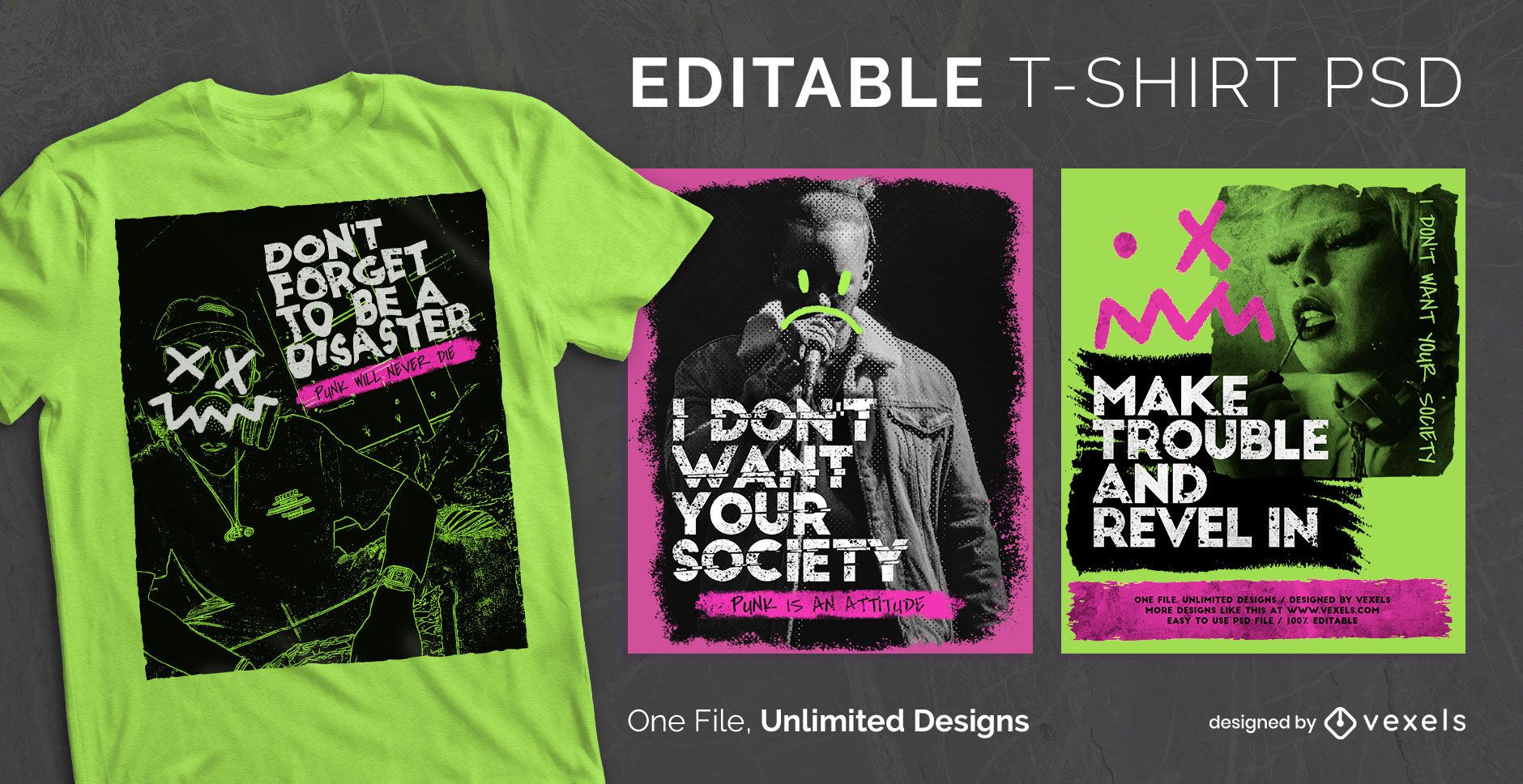 Punk rock style scalable t-shirt psd