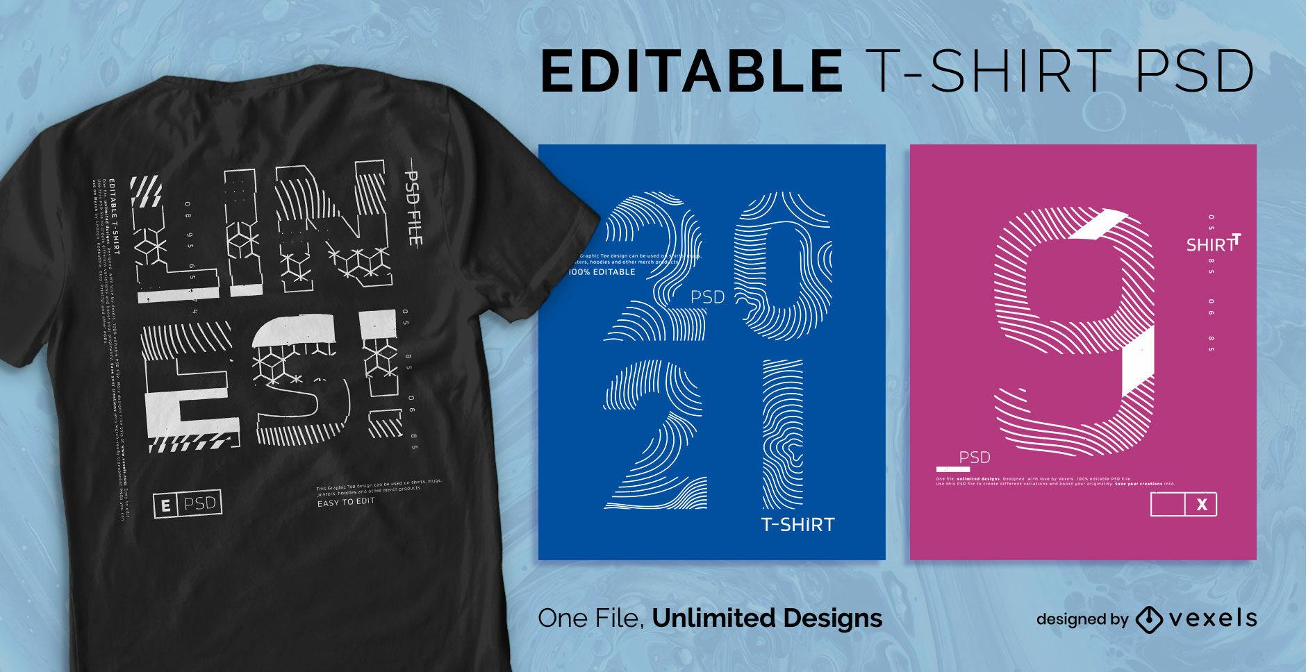 Camiseta escalable de citas de arte lineal psd