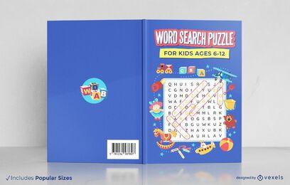 Rompecabezas de búsqueda de palabras para el diseño de la portada del libro de niños