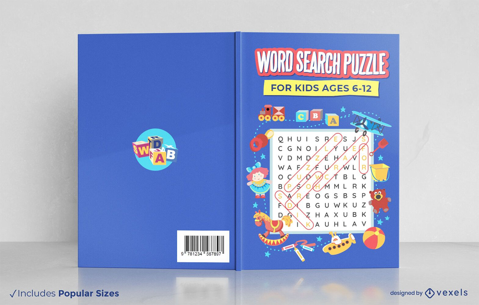 Word search puzzle for kids book cover design