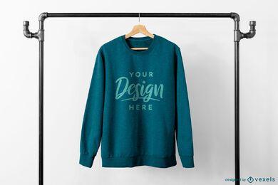 Sweatshirt in industrial rack mockup