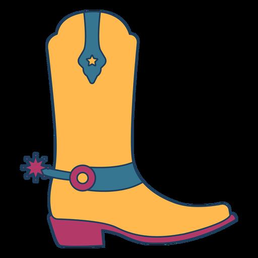 Yellow cowboy boot color stroke