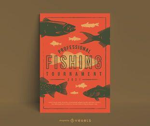 Cartel de torneo de pesca plana