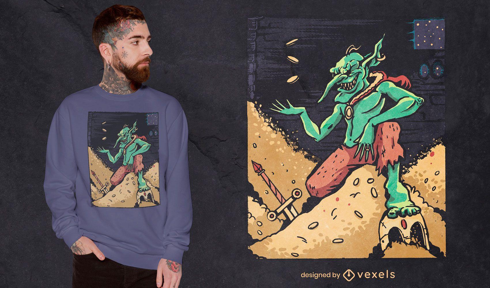 Goblin auf Goldmünzen-T-Shirt-Design