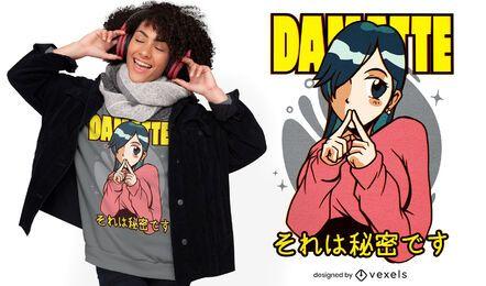 Cute anime girl secret t-shirt design