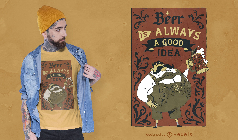Diseño de camiseta con cita de cerveza Oktoberfest