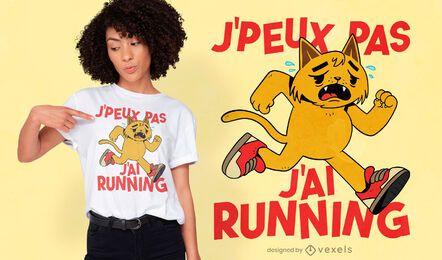 Diseño de camiseta de gato cansado corriendo