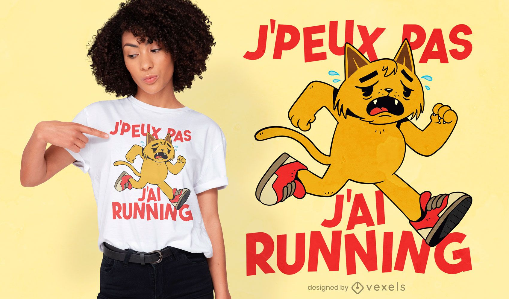 Gato cansado correndo design de camiseta