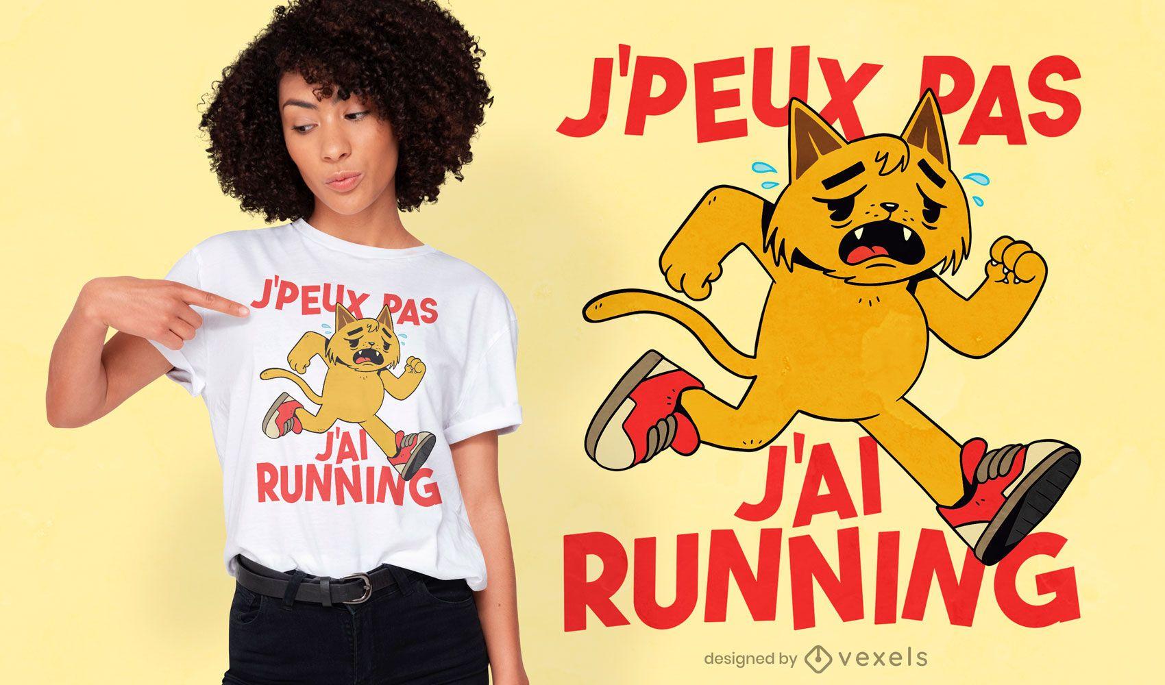 Tired cat running t-shirt design