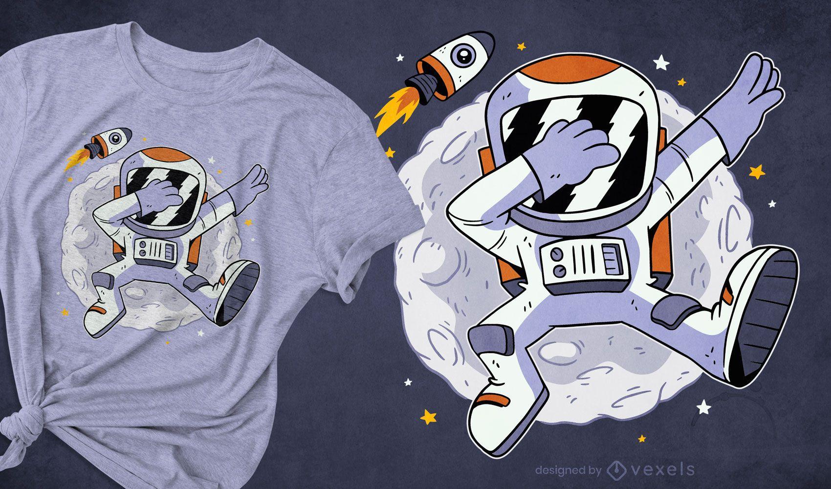 Astronaut tupfend im Weltraum-T-Shirt-Design