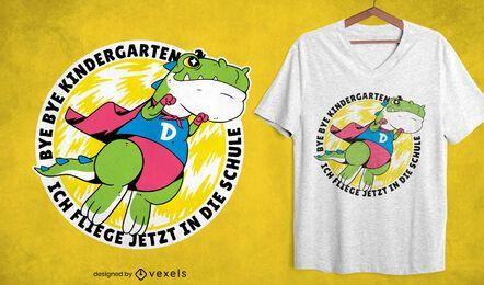 Diseño de camiseta de dinosaurio superhéroe volando