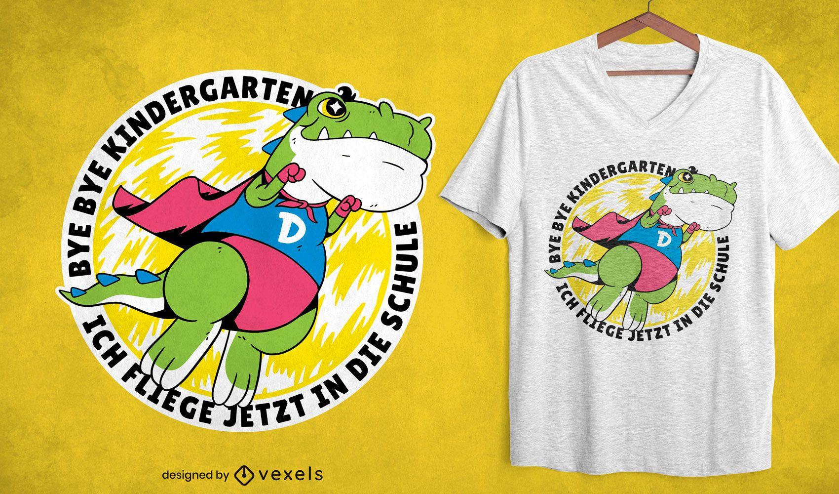 Superhero dinosaur flying t-shirt design