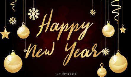 Ano novo, vetorial, esfera dourada, fundo, desenho, EPS, ilustrador