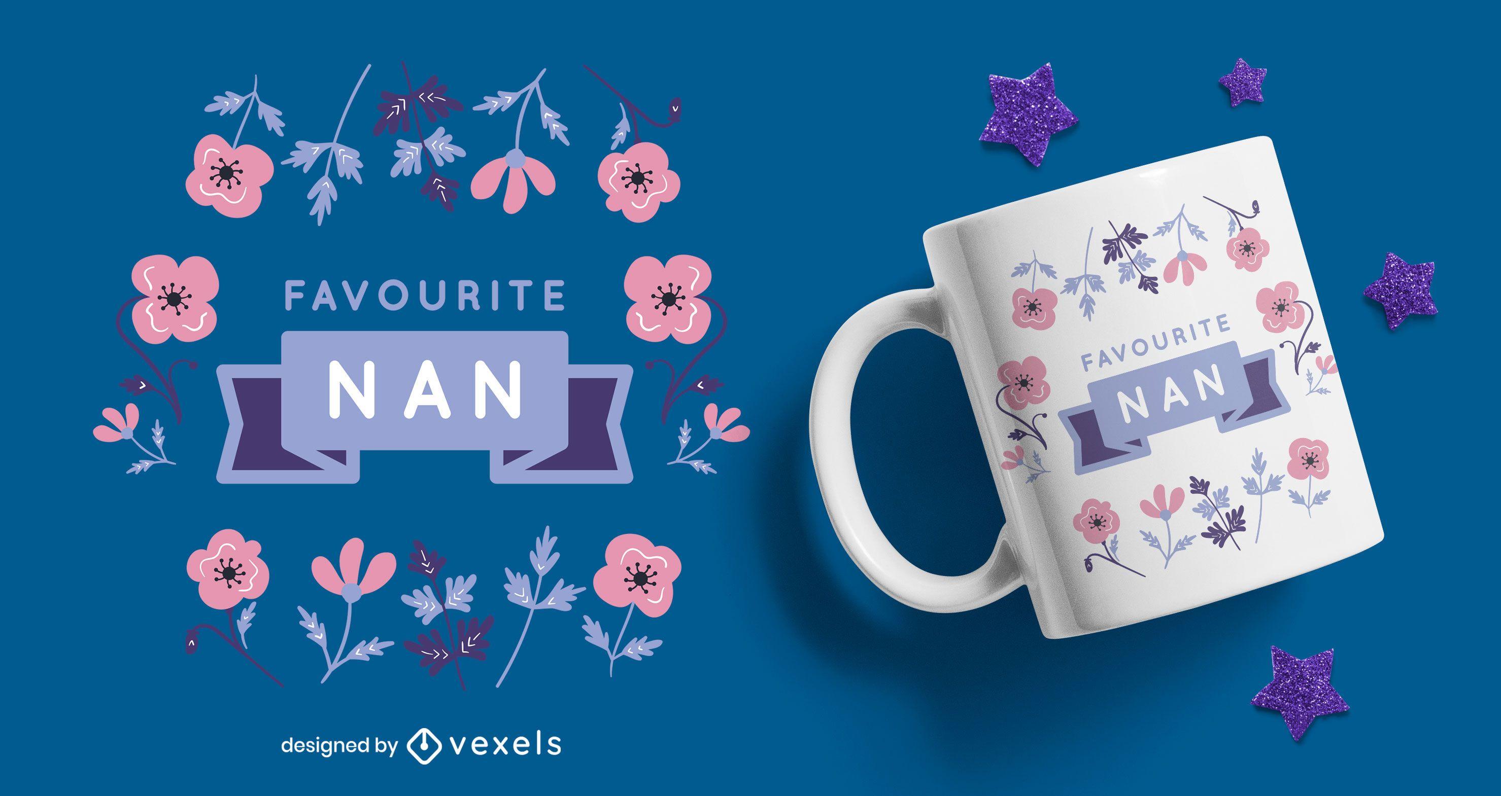 Favourite nan flowers flat mug design
