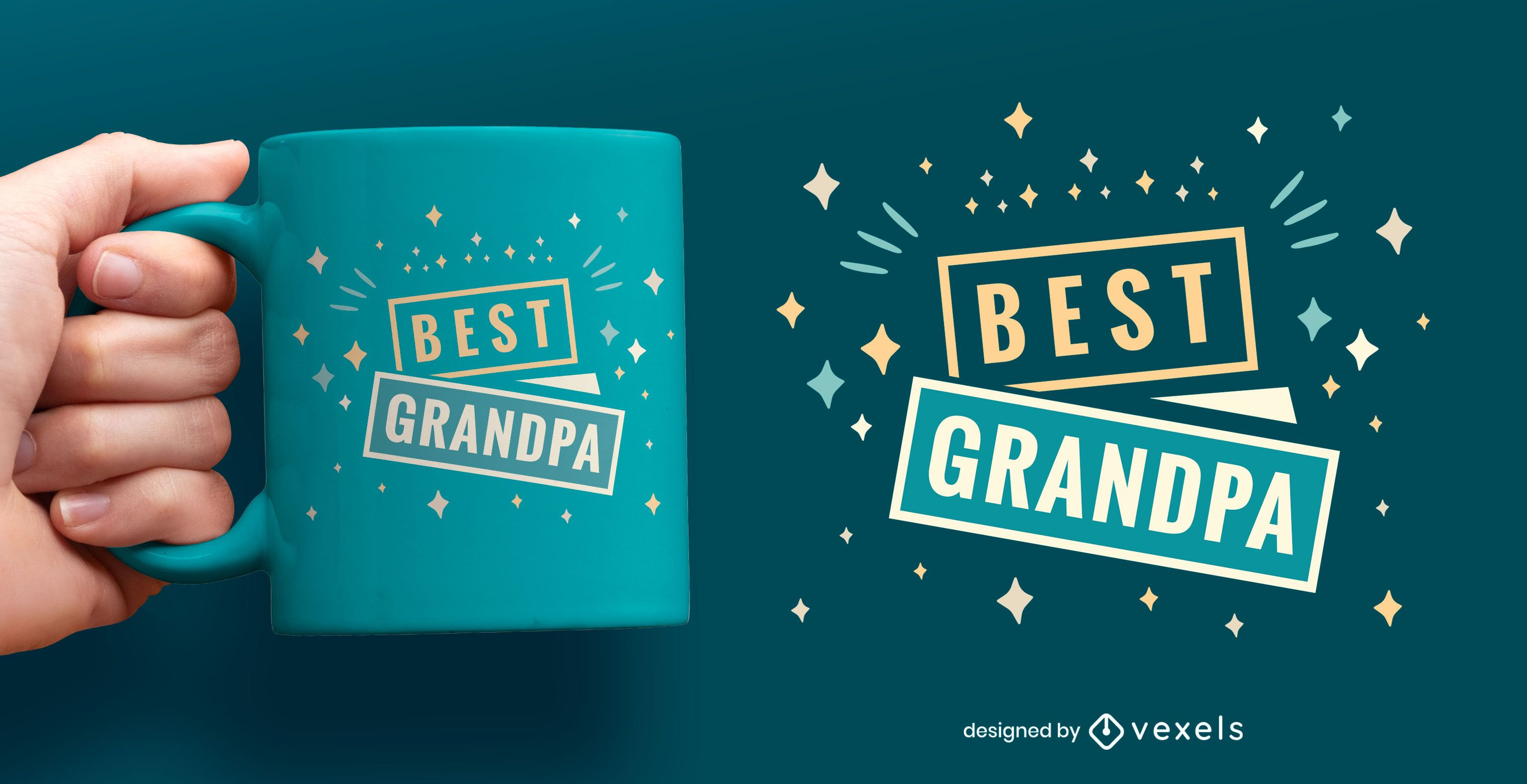 Best grandpa flat mug design
