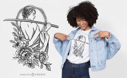 Diseño de camiseta de flores de mujer samurai.