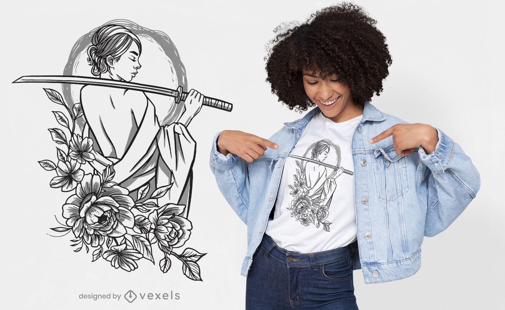 Samurai Frau Blumen T-Shirt Design