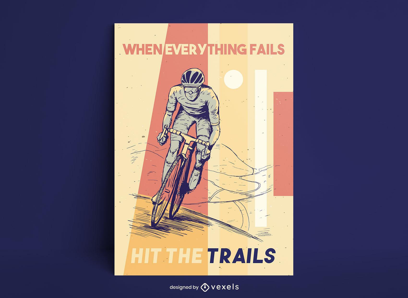 Diseño de cartel dibujado a mano de ciclismo