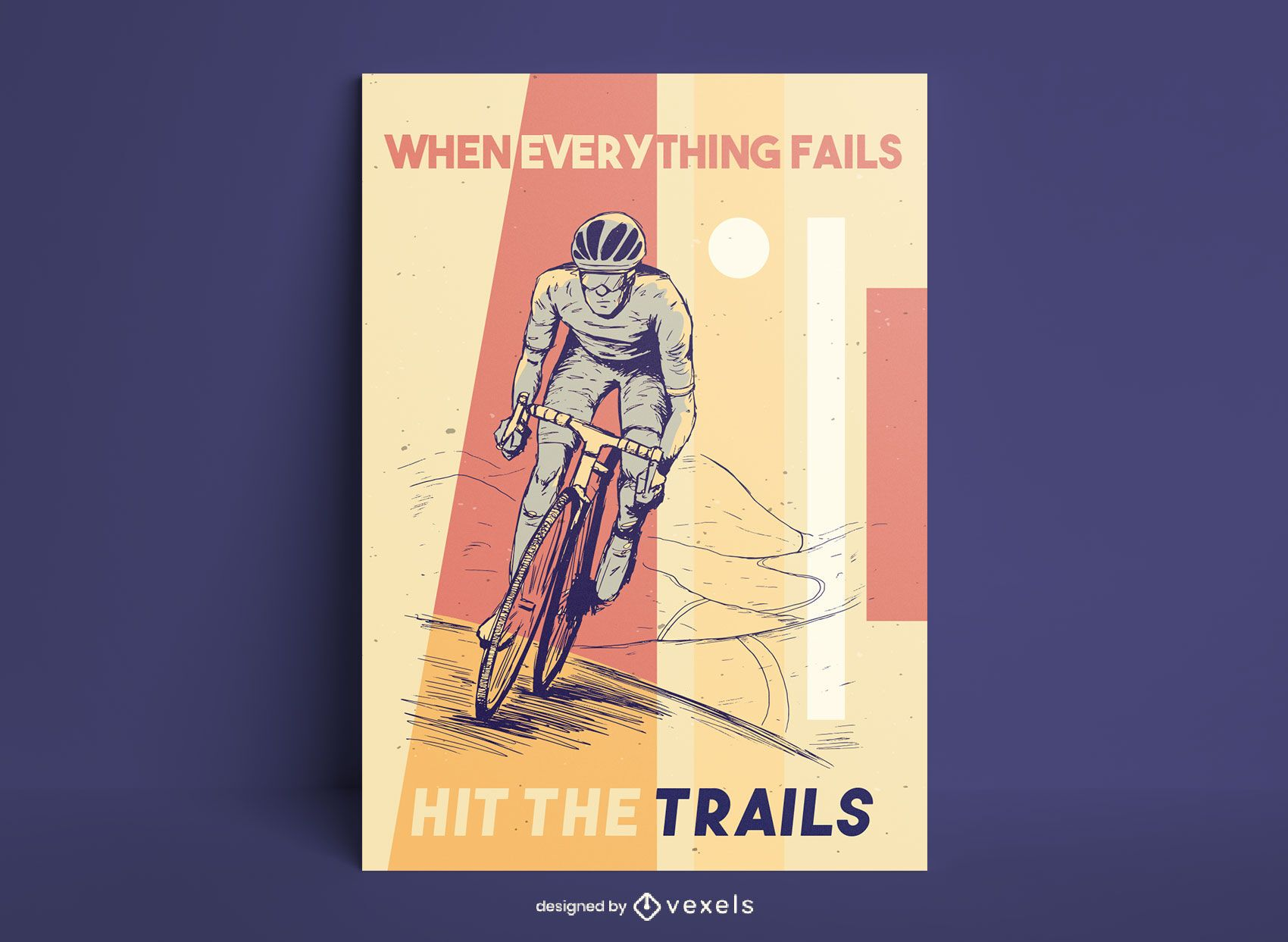 Cycling hand drawn poster design