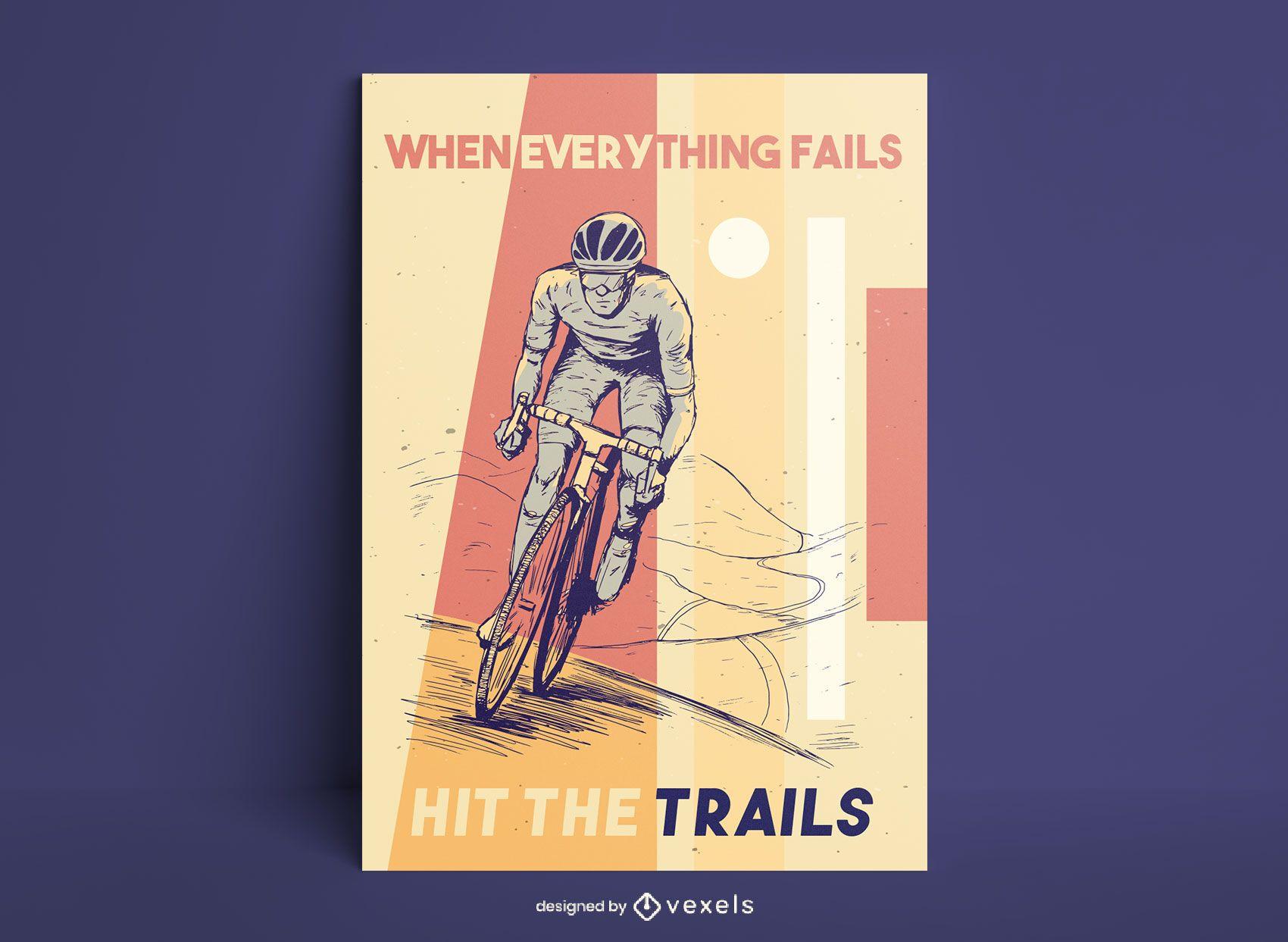 Desenho de pôster desenhado à mão para ciclismo